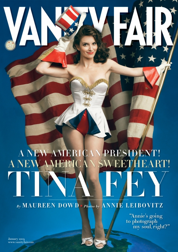 12/1/08 Tina Fey appears on the cover of the January, 2009 issue of Vanity Fair magazine.