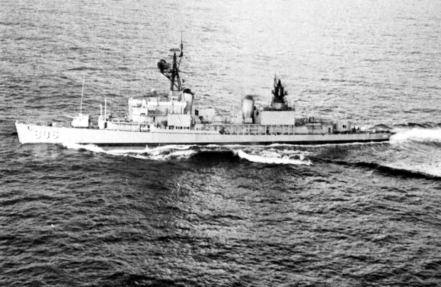The U.S. Navy destroyer USS Higbee (DD-806) underway in the Western Pacific in 1969. US Navy Photograph.